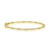 14K Yellow Gold Diamond Station Hinged Bangle