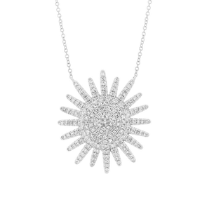14K White Gold Diamond Sunburst Necklace