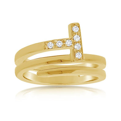 "Diamond ""T"" Wrap Ring"