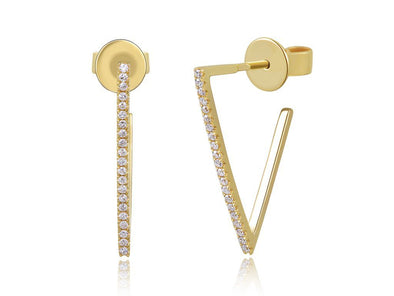 14K Yellow Gold Diamond Triangle Hoops