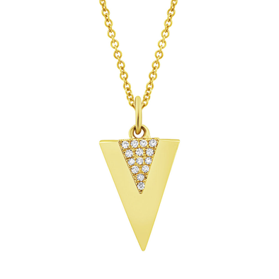 14K Yellow Gold Diamond Triangle Pendant