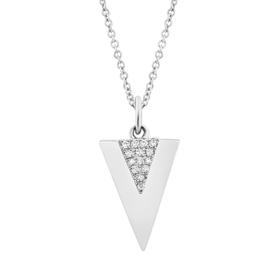 14K White Gold Diamond Triangle Pendant
