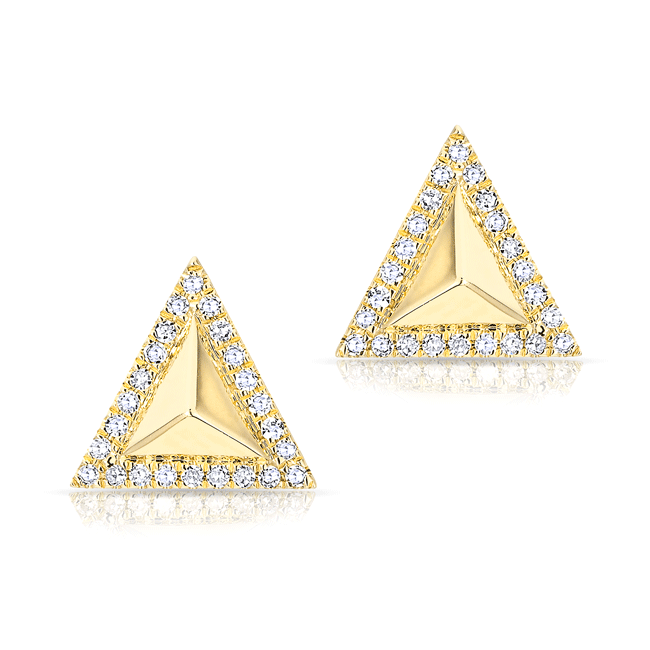 Diamond Triangle Pyramid Stud Earrings