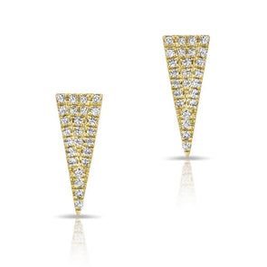 14K Yellow Gold Diamond Triangle Stud Earrings