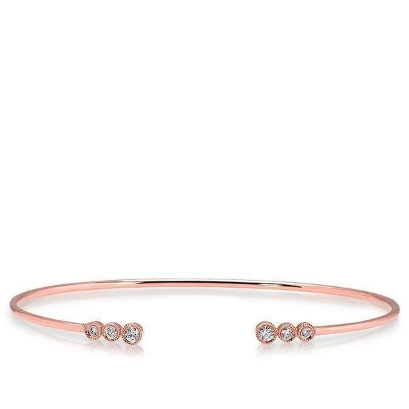 Diamond Triple Bezel Set Cuff Bangle