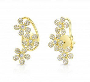 Diamond Triple Flower Ear Climbers