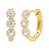 14K Yellow Gold Diamond Triple Halo Huggie Earrings