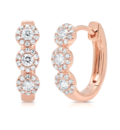 14K Rose Gold Diamond Triple Halo Huggie Earrings