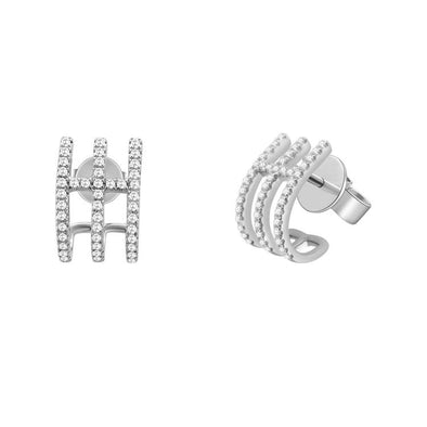 14K White Gold Diamond Triple Row Caged Huggie Earring