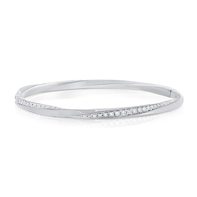 "14K White Gold Diamond ""Twist"" Bangle"
