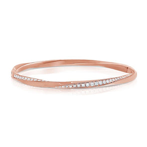 "14K Rose Gold Diamond ""Twist"" Bangle"