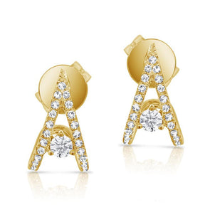"14K Yellow Gold Diamond ""V"" Style Huggie Earring"