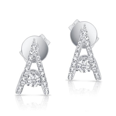 "14K White Gold Diamond ""V"" Style Huggie Earring"