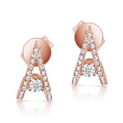 "14K Rose Gold Diamond ""V"" Style Huggie Earring"