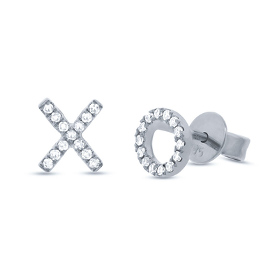 "14K White Gold Diamond ""XO"" Stud Earrings"
