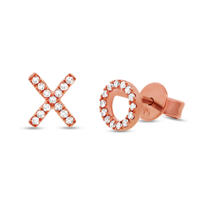 "14K Rose Gold Diamond ""XO"" Stud Earrings"
