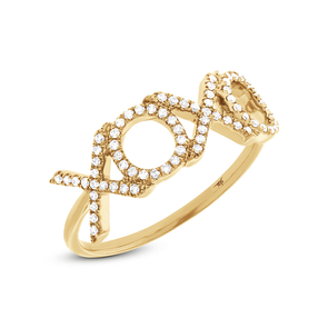"14K Yellow Gold Diamond ""XOXO"" Ring"