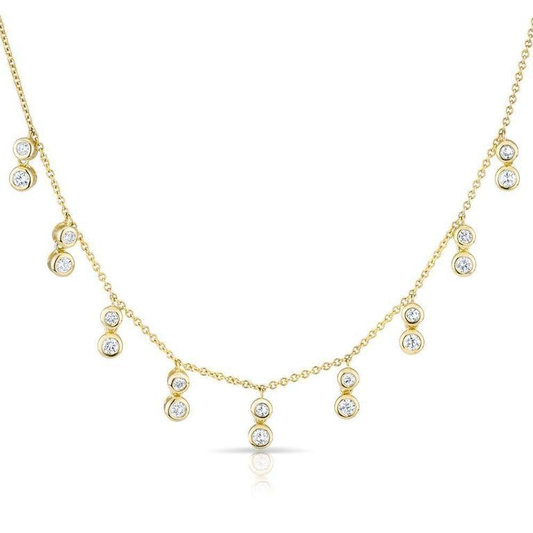 Double Diamond Bezel Drop Necklace