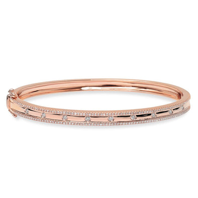 14K Rose Gold Diamond Border Hinged Bangle (Small)