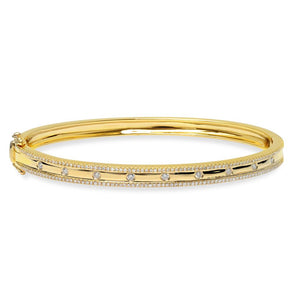 14K Yellow Gold Diamond Border Hinged Bangle (Small)