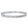 14K White Gold Diamond Border Hinged Bangle (Small)