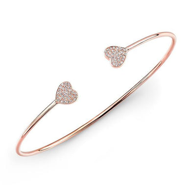Double Heart Diamond Bangle