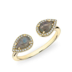 Double Pear Shaped Labradorite Ring