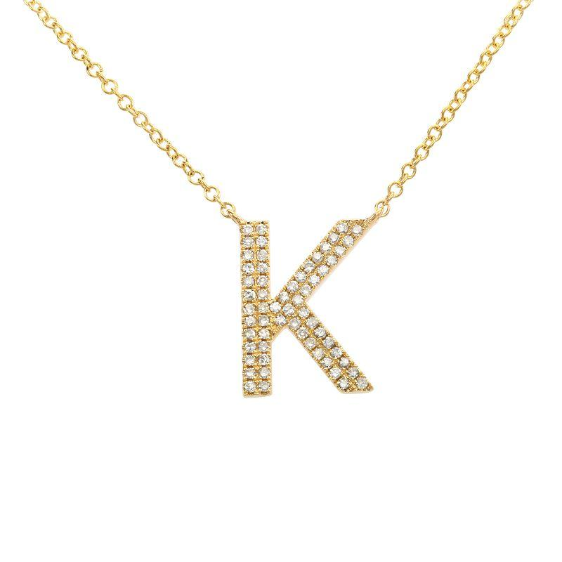 Double Row Diamond Initial Necklace