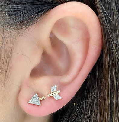 Double Arrow Diamond Earrings