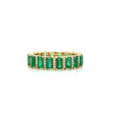 14K Yellow Gold Diamond + Emerald Eternity Ring