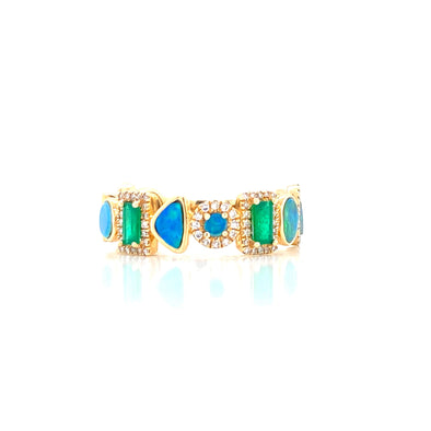 14K Yellow Gold Diamond + Emerald + Opal Multi Shape Ring