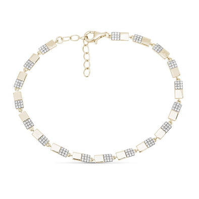 14K Yellow Gold Diamond Half Bar Bracelet