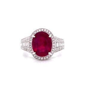 18K White Gold Diamond + Oval Ruby Ring
