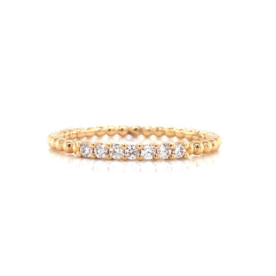 14K Yellow Gold Diamond Top Beaded Ring