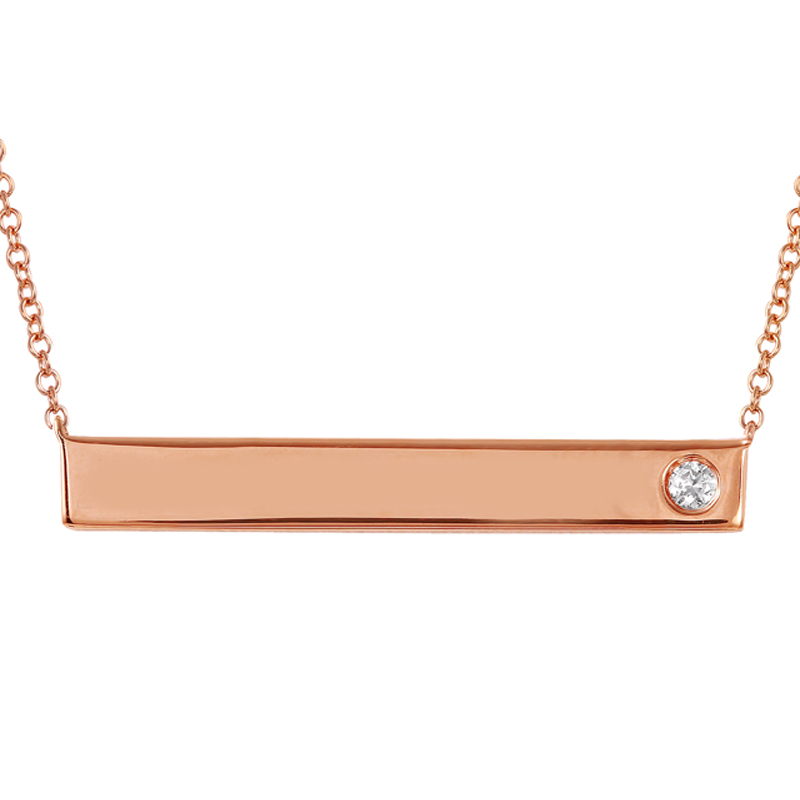 Engraveable ID Plate Diamond Necklace