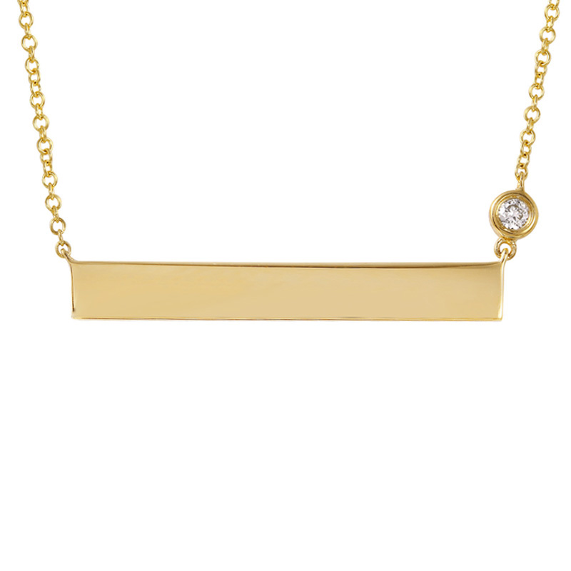 Engraveable ID Plate Necklace with Diamond Chain