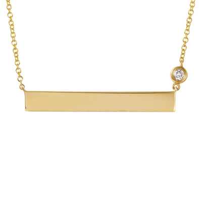 14k Yellow Gold ID Plate Necklace with Diamond Chain