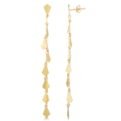14k Gold Yellow Polished Tear Drop Drop Earrings