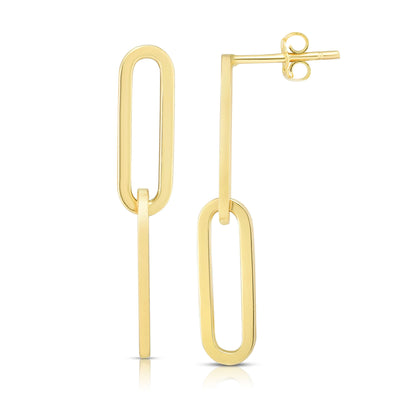 14k Yellow Gold Oval Paper Clip Earrings