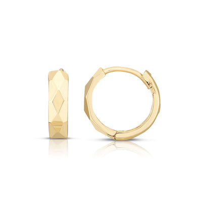 14k Gold Yellow Finish Diamond Cut Polished Huggie Earrings