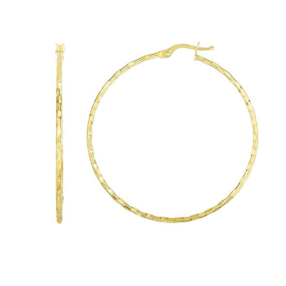 14k Yellow 45mm Shiny+Textured Hoop Earrings