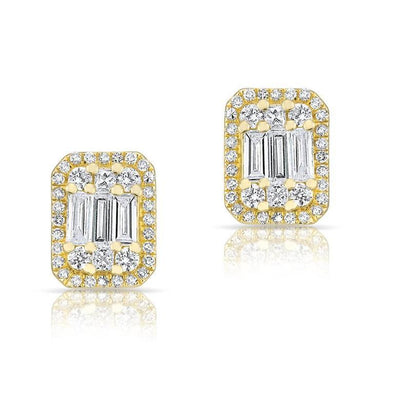 Fancy Baguette Diamond Stud Earrings
