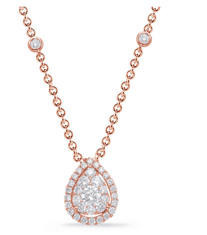 14K Rose Gold Fancy Pear Diamond Cluster Necklace