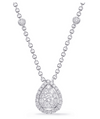 14K White Gold Fancy Pear Diamond Cluster Necklace