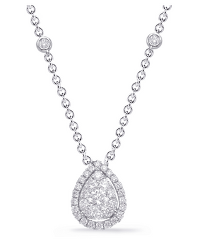 Fancy Pear Diamond Cluster Necklace