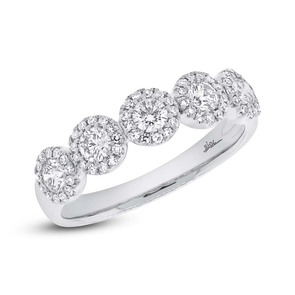 14K White Gold Five Diamond Halo Band