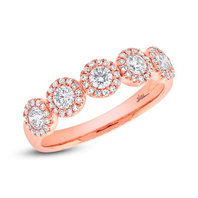 14K Rose Gold Five Diamond Halo Band
