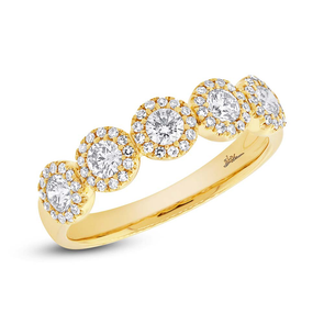 14K Yellow Gold Five Diamond Halo Band