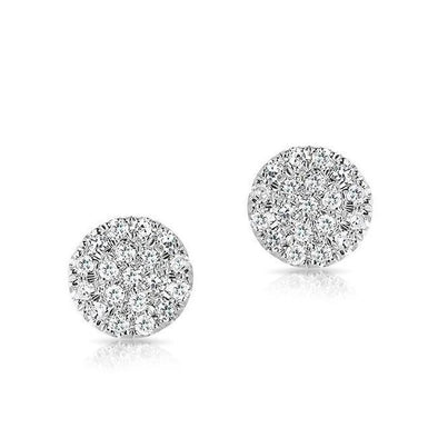 White Gold 14k Flat Mini Disc Diamond Earrings