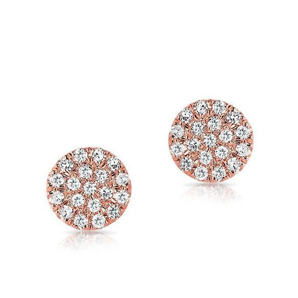 Yellow Gold 14k Flat Mini Disc Diamond Earrings